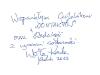 Pamiątkowy wpis Wojciecha Kordy do Kroniki Kontaktów